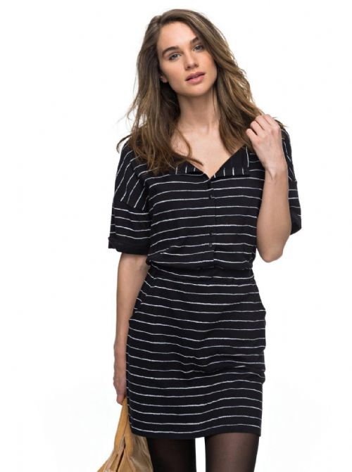 ROXY WOMENS DRESS.NEW FEEL IT ALL BLACK STRIPED SHORT TUNIC DRESS 7W 3132 KVJ4